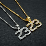 Stainless Steel Iced Out 14k Gold Silver Basketball Legend MJ Number 23 Chain Pendant