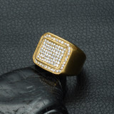 Hip Hop Micro Pave Simulated Diamond  Square Gold Titanium Stainless Steel Ring