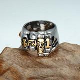 Fist Finger Titanium Stainless Steel Unique Skull Bling Ring