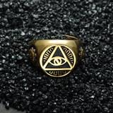 All Seeing Eye Titanium Stainless Steel Illuminati Pyramid Eye Symbol Ring