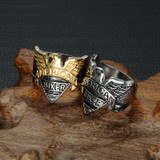 Men's American Biker Eagle Titanium Stainless Steel Ring