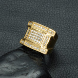 Concave Bling Simulated Diamond 14k Gold Titanium Stainless Steel Ring