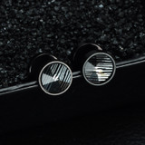 Mens Double Sided Round Black Stainless Steel Snow Cap Pattern Stud Earrings