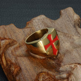 Mens Blood Red Cross Stainless Steel Knights Templar Style Armor Ring