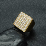 Hip Hop Micro Pave Simulated Diamond Iced Out Bling Big Square Gold Stainless Steel Ring