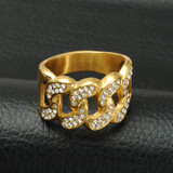 Mens Iced Out Micro Pave Simulated Diamond Bling Cuban Link Chain Gold Ring