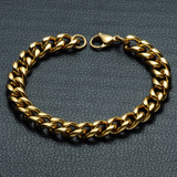Mens Gold Stainless Steel  Miami Cuban Link Curb Bling Bracelet