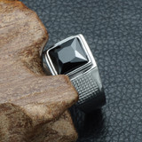 Mens Iced Vintage Black Simulated Diamond Silver Titanium Stainless Steel Ring