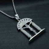 Iced Out Crucifix Jesus Piece Silver Stainless Steel Heavens Gate Chain Pendant