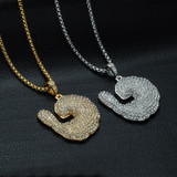 Mens Hip Hop Down South Simulated Diamond Iced Out Crawfish Chain Pendant Necklace