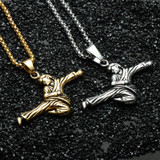 Mens Titanium Stainless Steel Kung Fu Pendant Chain Necklaces