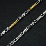 Hip Hop Two Tone Gold Titanium Stainless Steel Flat Handmade Heavy Link Byzantine Chain Necklace