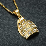 Iced Out 14k Gold Stainless Steel Hand Grenades Bomb Simulated Diamond Pendant