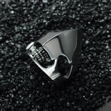 Mens High Polished Titanium Stainless Steel Alien Skull Ring