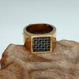 Mens 14k Gold Bling Geometric Square Titanium 14k Gold Stainless Steel Ring