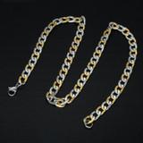 Hip Hop Two Tone Gold Color Titanium Stainless Steel 60CM Curb Cuban Link Chain