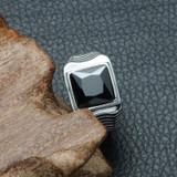 Mens Shark Gills Black Simulated Diamond Silver Stainless Steel Hip Hop Ring
