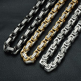 Mens Hip Hop Gold Silver Black Byzantine Box Link Chain Necklace
