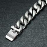 Mens Heavy Miami Cuban Curb Link Silver Titanium Stainless Steel Bracelet
