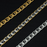 Mens Double Caged Two Tone 14k Gold Titanium Stainless Steel Thick Designer Cuban Chain Necklace