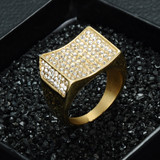 Mens 14k Gold Concave Lab Diamond Iced Out Stainless Steel Ring