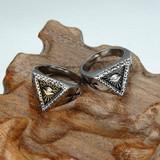 Mens Triangle Titanium Stainless Steel Illuminati Pyramid Eye Symbol Ring