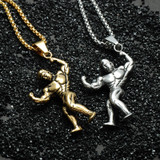 Men's 14k Gold Silver Titanium Stainless Steel Sports Gym Fitness Muscular Weightlifter Pendant
