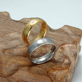 High Polished Silver Stainless Steel 14k Gold Simulated Diamond Ring
