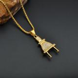 Mens Hip Hop 14k Gold Titanium Stainless Steel Ice Out Lab Diamond Power Plug Pendant