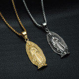 14k Gold Silver Stainless Steel Holy Virgin Mary Chain Necklace Pendant