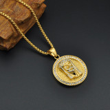 Mens 14k Gold Jesus Of Peace Stainless Steel Lab Diamond Chain Necklace Pendant