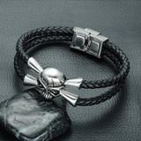 Mens Stainless Steel Magnet Buckle Double Layer Black Skull Bracelet