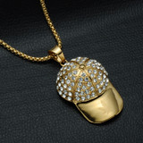 Iced Out 14k Gold Titanium Stainless Steel Weed Leaf Hat Pendant Chain Necklace