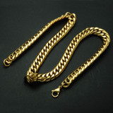 14k Gold Titanium Stainless Steel Double Curb Cuban Link