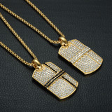 14k Gold Hip Hop Lab Diamond Bling Square Pendant