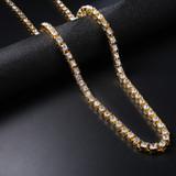 Classic Handset Cluster Stone 14k Gold Hip Hop Original 1 Row Tennis Chain Necklace