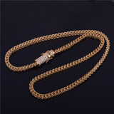 Mens 18k Gold .925 Silver Stainless Steel Flooded Ice Franco Cuban Link Chain