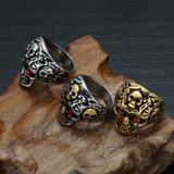 Diamond Eye Stainless Steel Unique Skeleton Skull Ring
