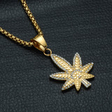14k Gold Micro Pave Titanium Flooded Ice Hip Hop Weed Leaf Plant Pendant Chain Necklace