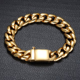Mens 14k Gold 316L Stainless Steel Curb Cuban Link Chain Bracelet
