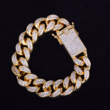 24k Gold AAA Floode Ice Handset Pave Stone Hip Hop Bracelets