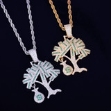 18k Gold .925 Silver Money Tree Hip Hop Pendant