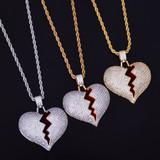 Lab Diamond Bling 18k Gold Silver Heart Breaker Chain