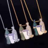 Hip Hop 18k Gold .925 Silver Sprite Bottle Purple Cup Combo Pendant Chain Necklace