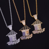 18k Gold .925 Silver Multi Color Flooded Ice Trap House AAA True Micro Pave Pendant Chain Necklace