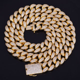 24k Gold 20mm Heavy Iced AAA True Micro Pave Miami Cuban Link