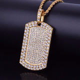 Flooded Ice AAA Cluster Handset Stone Dog Tag 14k Gold Bling Chain Pendant