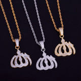 18k Gold .925 Silver Allah God AAA True Micro Pave Hip Hop Pendant Chain Necklace