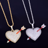 .925 Silver 18k Rose Gold Arrow Through Heart Flooded Ice Pendant Chain Necklace