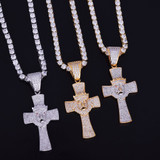 AAA True Micro Pave 18k Gold .925 Silver Lion Of Judah Hip Hop Cross Pendant Chain Necklace